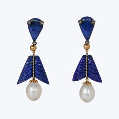 Lapis Lazuli Earrings with Pearl and Diamond 23.58 g.