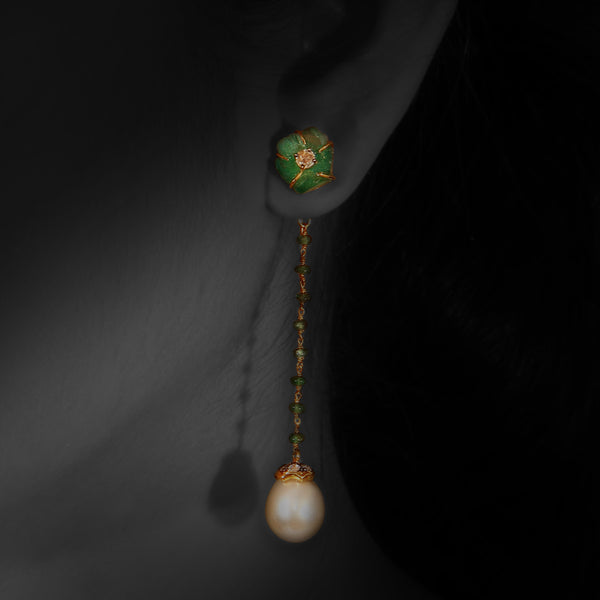 Pearl Earrings with Carved Emerald Flower & Diamonds