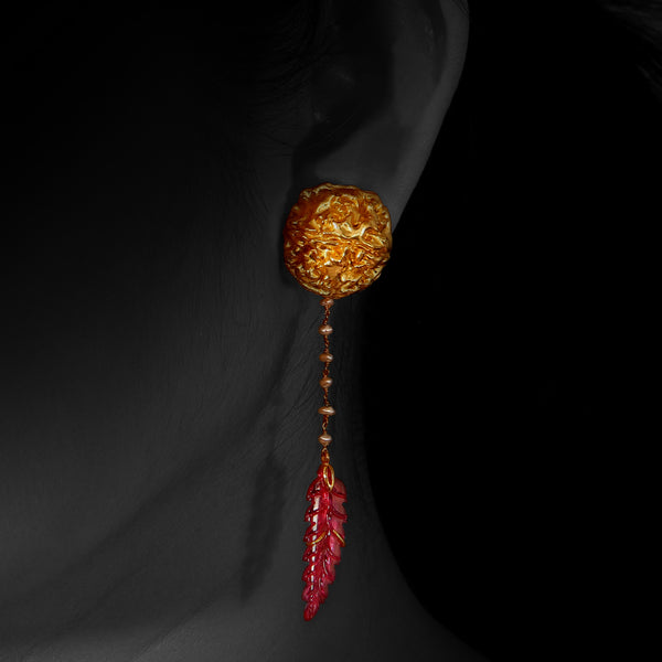 Prayer Bead Earrings with Carved Ruby