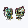 Butterfly Earrings with Abalone Shell , Diamonds & Pink Tourmaline