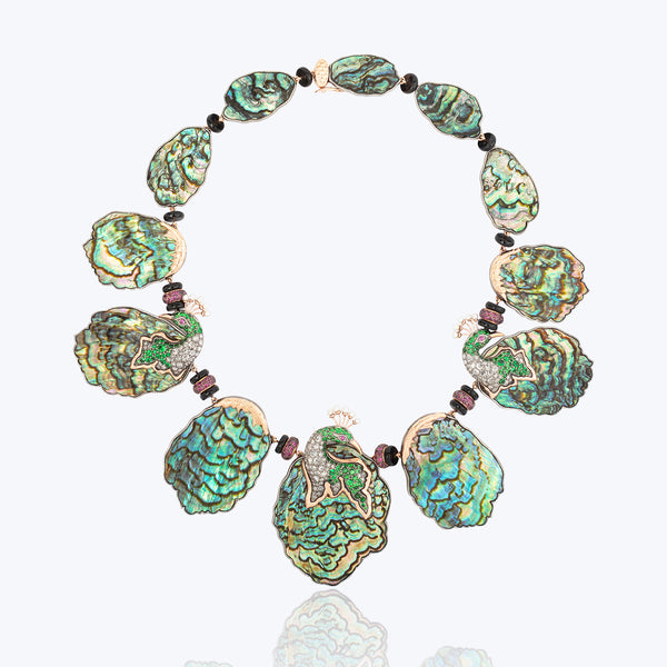 Abalone Shell Peacock Necklace