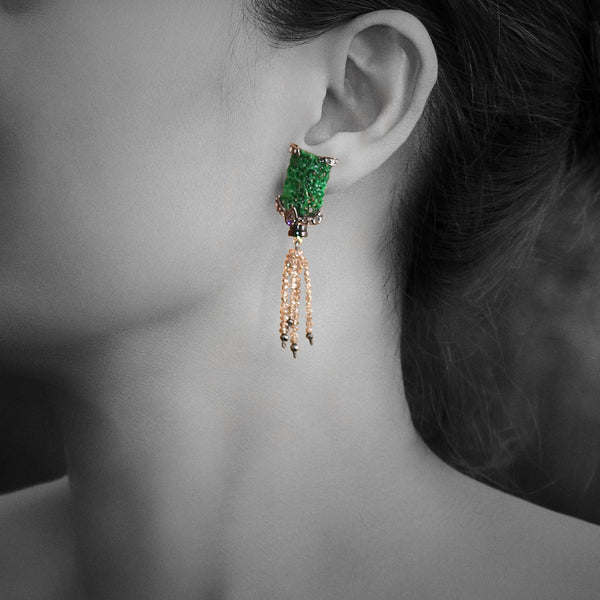 Carved Jade Earrings with Diamond