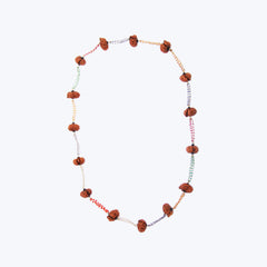 Natural Prayer Bead Necklace with Variety Gems
