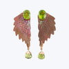 Carved Shell Wing Earring with Peridot Green wt. 8.33 g.