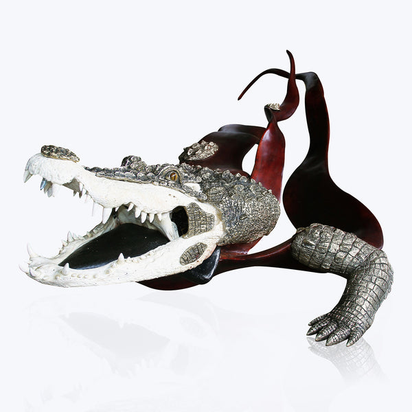 Mahogany Crocodile Sculpture