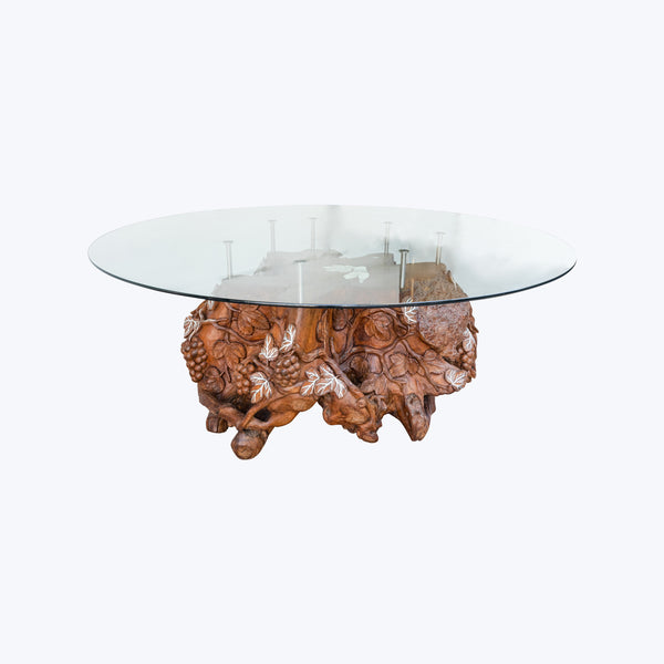 Carved Grape & Leaf Design Teak Table