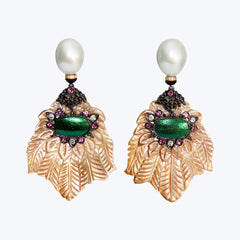 Carved Shell Earrings with Pearl, Scarab & Diamond wt.31.19 g