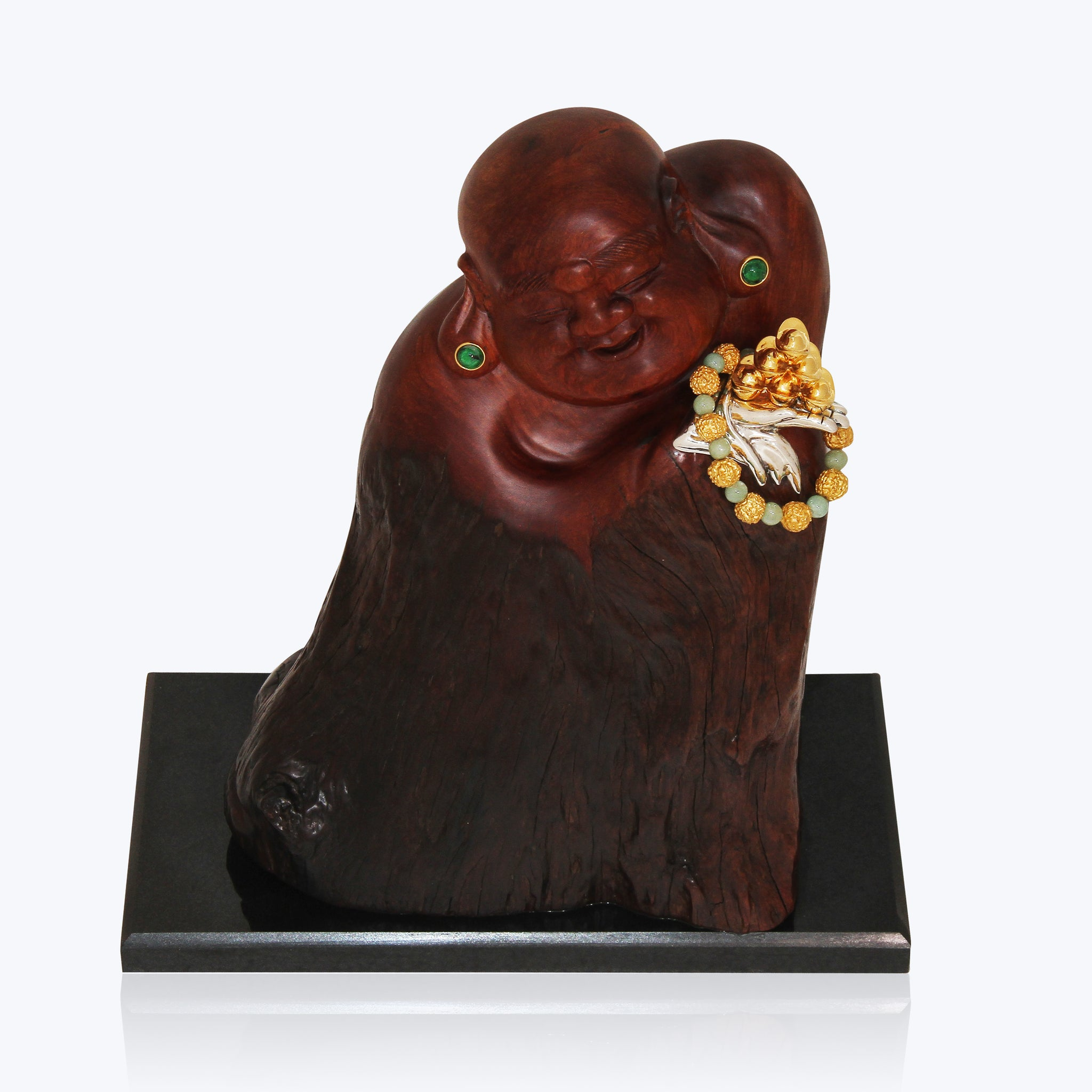 Carved Wooden Happy Monk with Prayer Beads