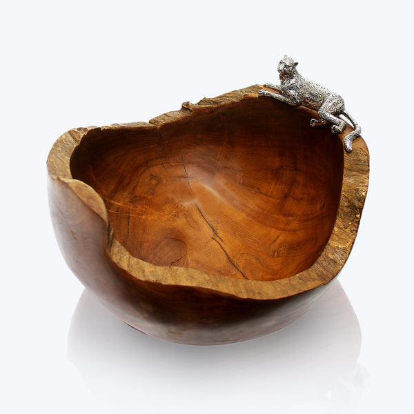 Wooden Bowl with Cheetah