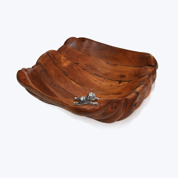 Wooden Bowl with Silver Bulldog