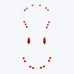 Red Lacquer Happy Monk Necklace with Pearl