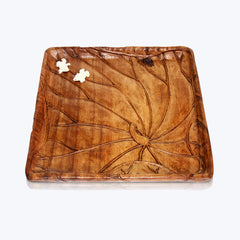 Carved Wooden Tray with Bone Frogs