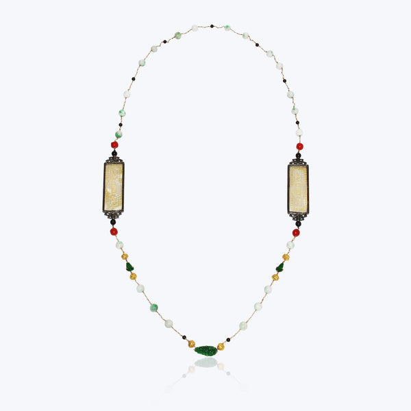 Carved Mother of Pearl Necklace with Jade