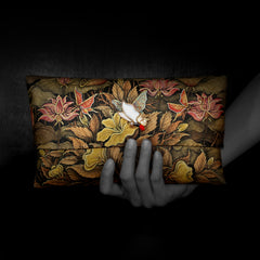 Woman holding Balinese Painted Bamboo Handbag with Butterfly