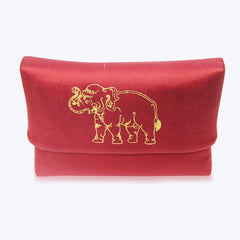Red Rattan Handbag with Gold Painted Elephant