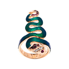 Snake Ring with Scarab, Tourmaline and Diamond