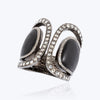Black Wood Ring Decorated with Diamonds