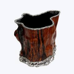 Burl Wood Bucket Decorated with Turtle