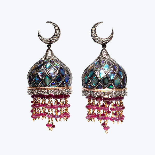 Dome Earrings with Shell Sheets and Ruby 33.78 g.
