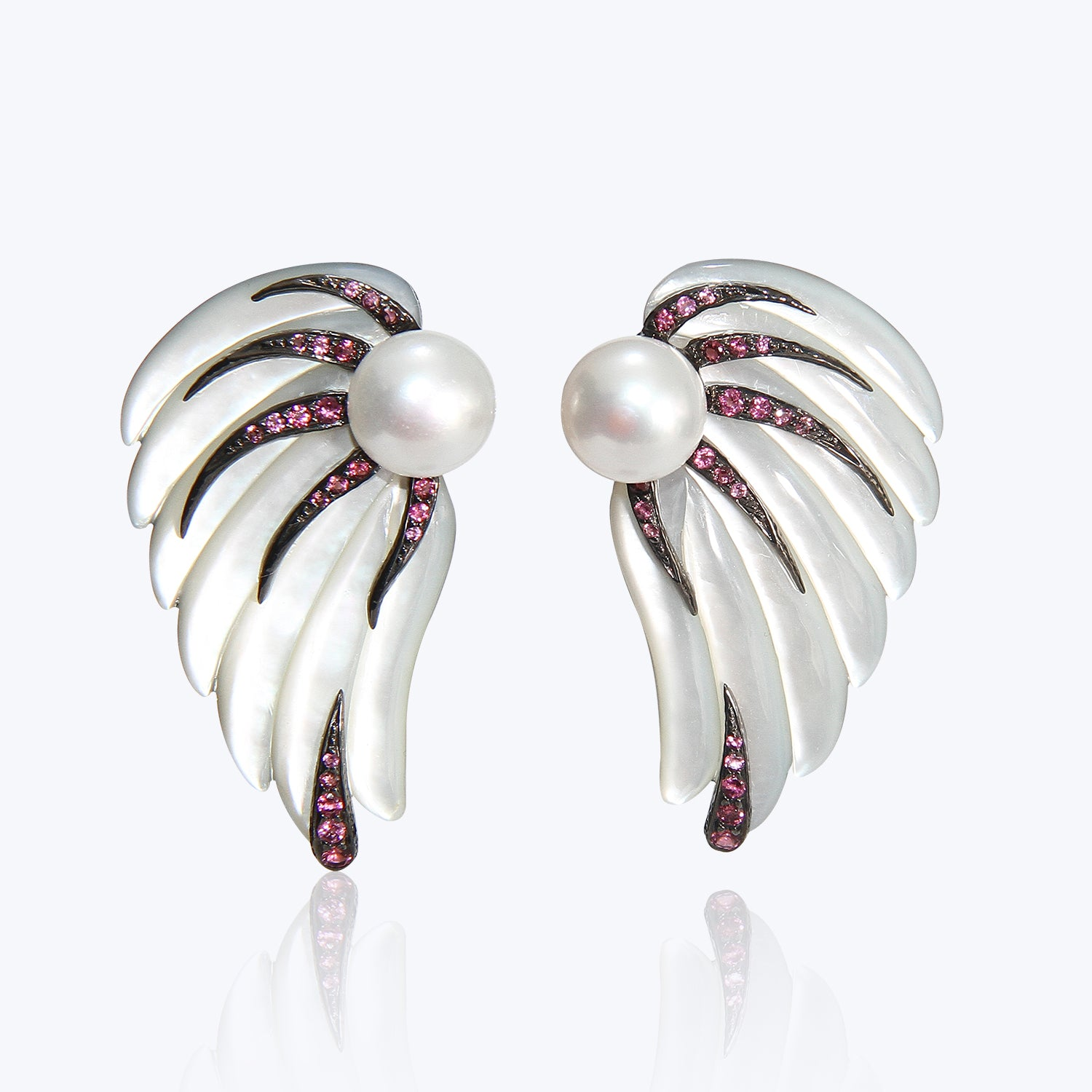 Carved Mother of Pearl Earrings with Pink Tourmaline and Pearl wt. 39.22 g.