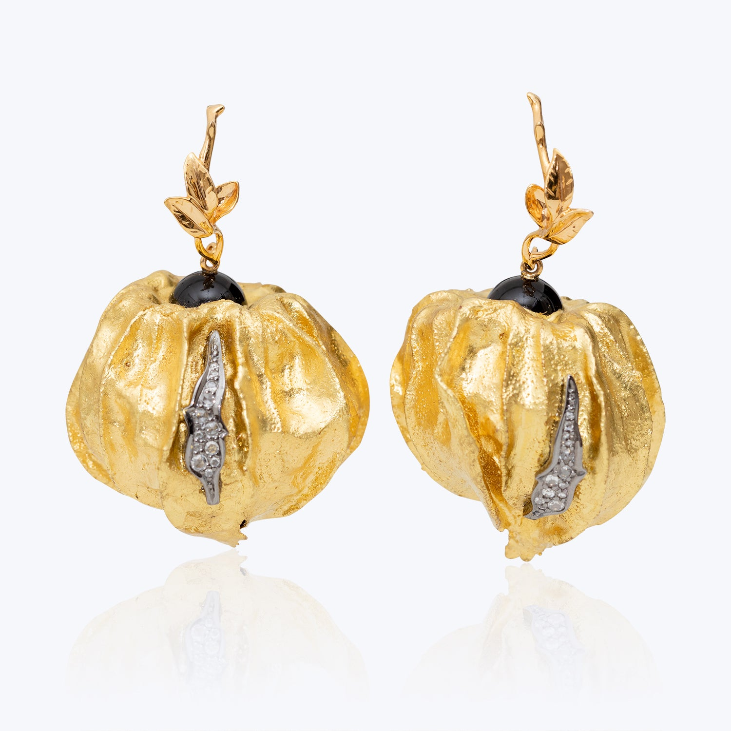 Cape Gooseberry Earrings with Diamonds & Black Agate wt. 15.72 g.