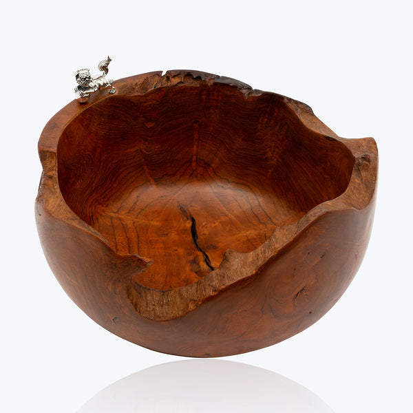Wooden Bowl with Foo Dog