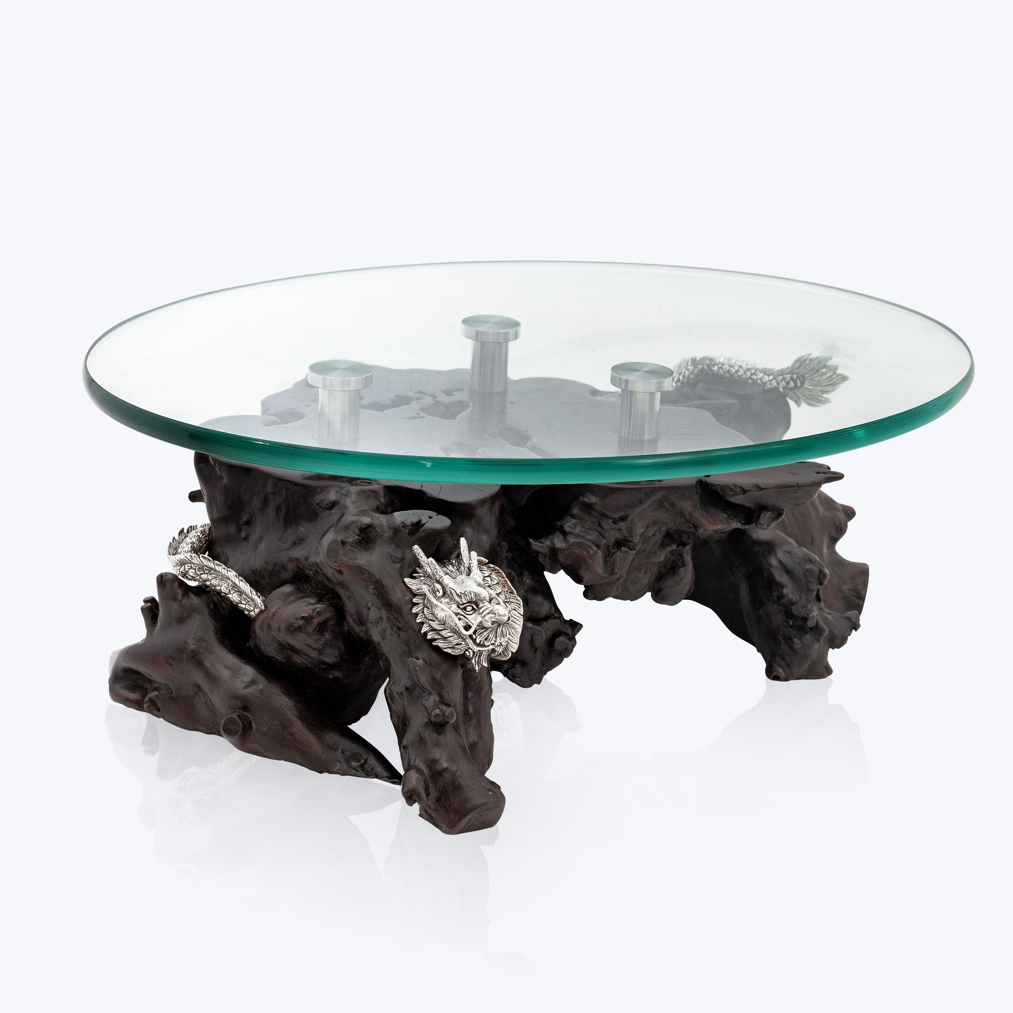 Wooden Low table with Silver Dragon