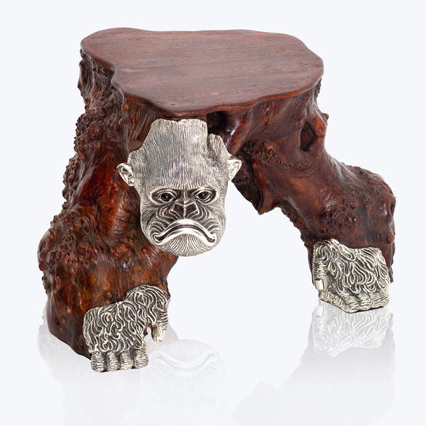 Wooden Side Table with Silver Gorilla