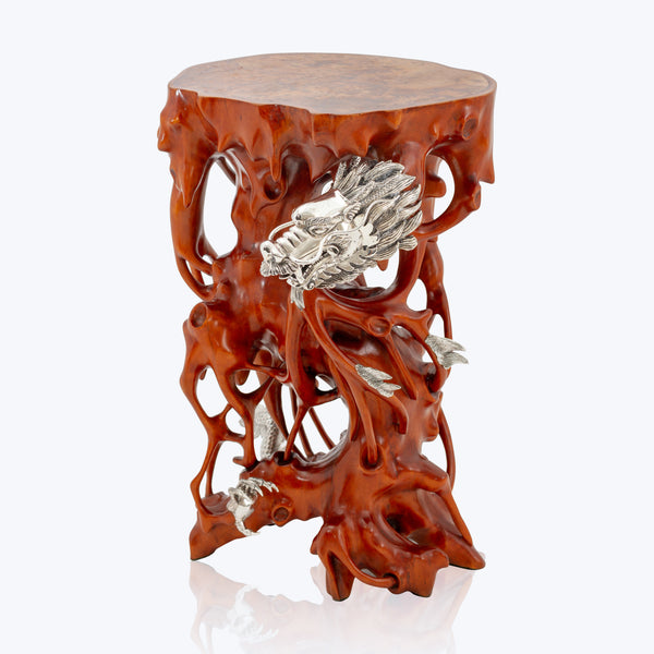 Wooden Side Table with Silver Dragon