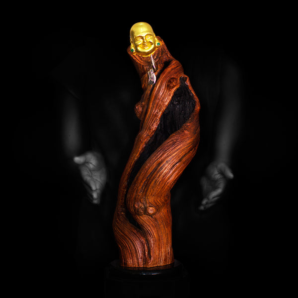 Wooden Happy Monk Sculpture