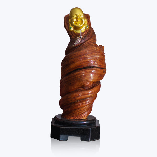 Liana Wood Happy Monk Sculpture with Maw Sit Sit