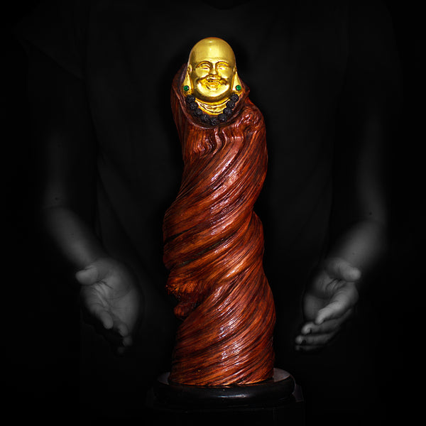 Wooden Happy Monk Sculpture with Prayer Bead