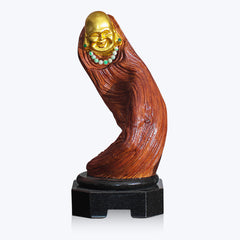 Wooden Happy Monk Sculpture with Jade