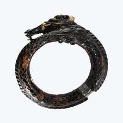 Carved Dragon Polished Black Wood Bangle with Citrine & Diamond