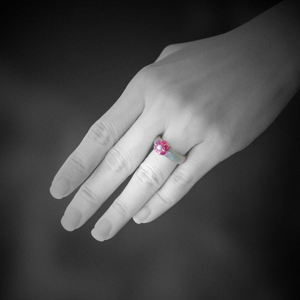 Jade Ring with Ruby and Pearl