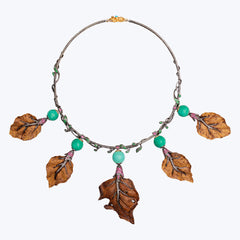 Carved Box Wood Leaf Necklace