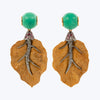 Carved Box Wood Leaf Earrings