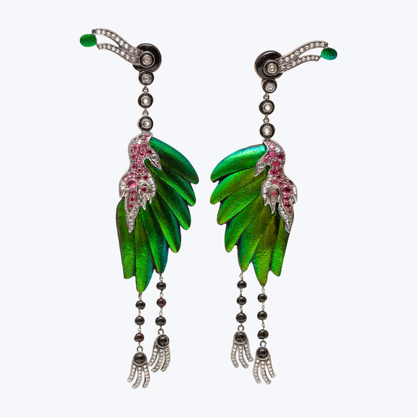 Flamingo Earrings with Scarab, Diamonds & Pink Tourmaline wt.41.16g
