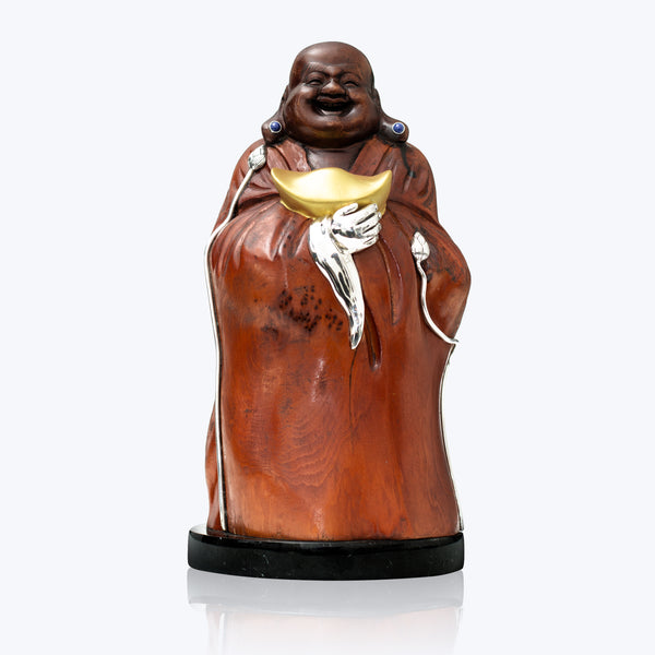 Carved Wooden Happy Monk with Gold Ingot