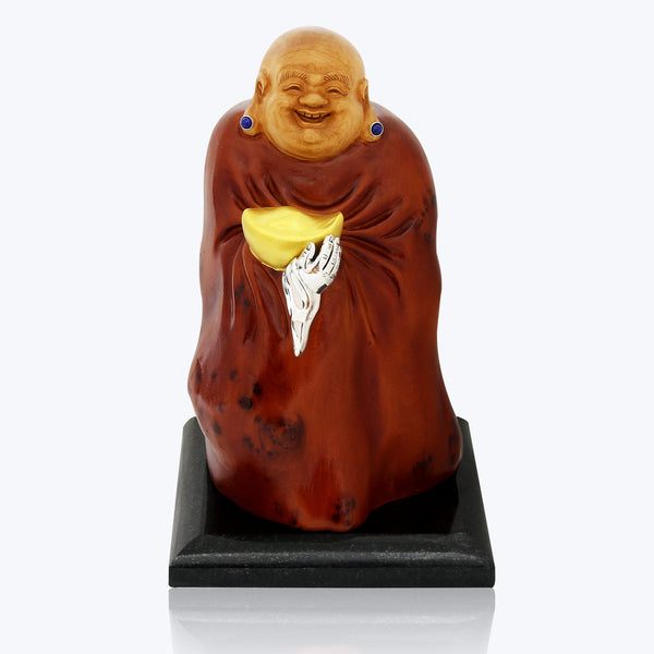 Carved Wooden Happy Monk with Lapiz Lazuli & Gold Ingot