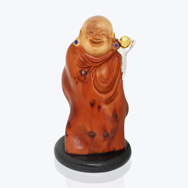 Carved Wooden Happy Monk with Lapis Lazuli