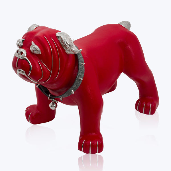 Red Leather Bulldog Stool