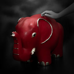 Red Leather Elephant Stool