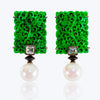 Jade Earrings with Pearl, Diamond and Black Agate