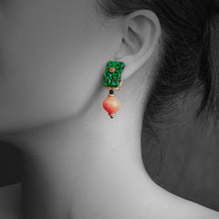 Woman wearing Jade Earrings with Red Stone, Diamond and Black Agate
