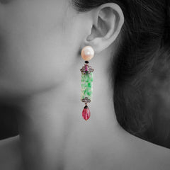 Woman wearing Jade Earrings with Pearl, Pink Tourmaline, Rubellite, Diamond and Black Agate