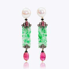 Jade Earrings with Pearl, Pink Tourmaline, Rubellite, Diamond and Black Agate