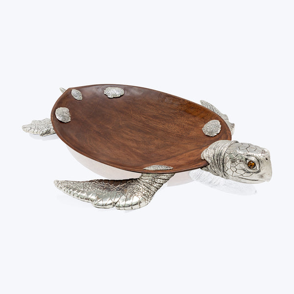 Wooden Bowl with Silver Sea Turtle