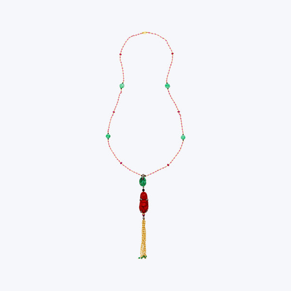 Red Lacquer Happy Monk Necklace with Jade & Ruby