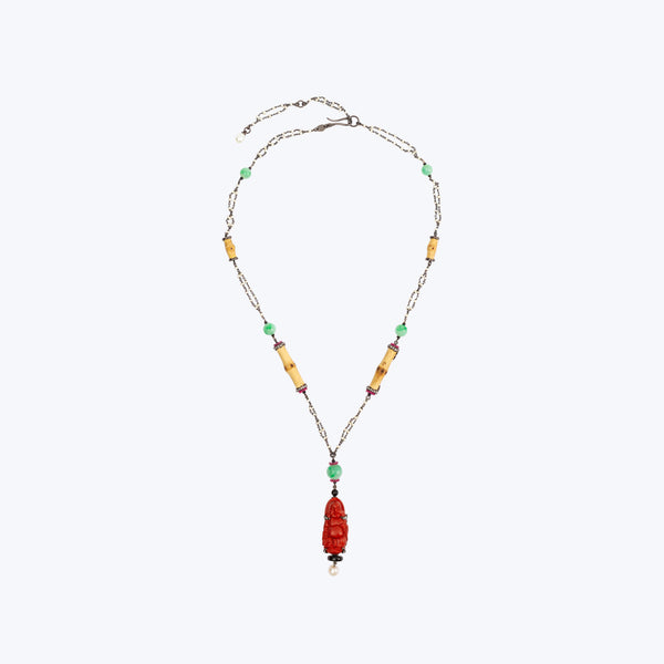 Red Lacquer Happy Monk Necklace with Jade & Bamboo wt18.86g 19.5""